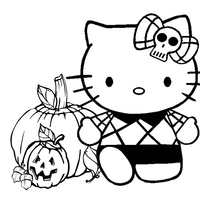 Desenho de Hello Kitty se divertindo no Halloween para colorir