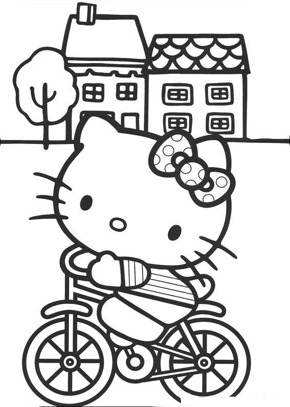 Desenho De Hello Kitty Na Bicicleta Para Colorir Tudodesenhos