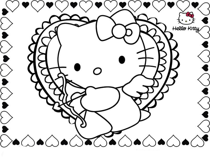 Desenho De Hello Kitty No Dia Dos Namorados Para Colorir