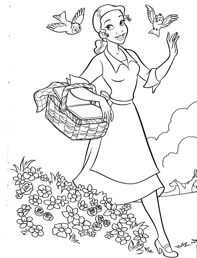 Desenho De Tiana No Jardim Para Colorir Tudodesenhos