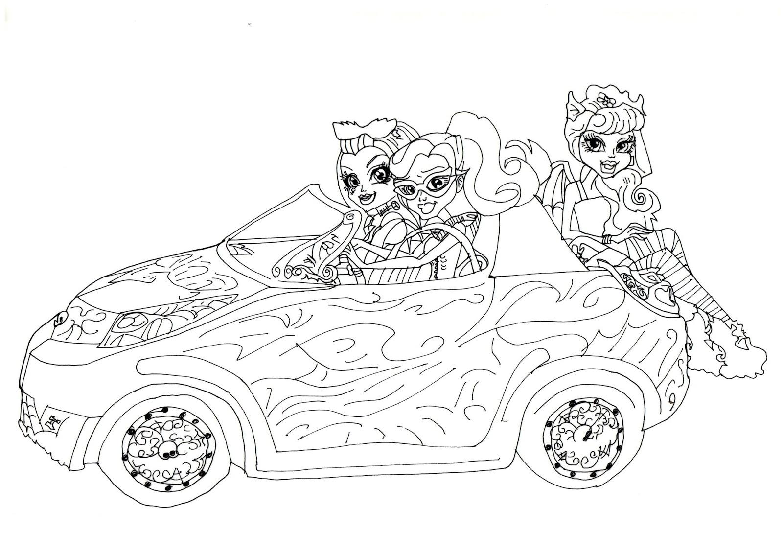 Desenho De Monster High No Carro Para Colorir Tudodesenhos