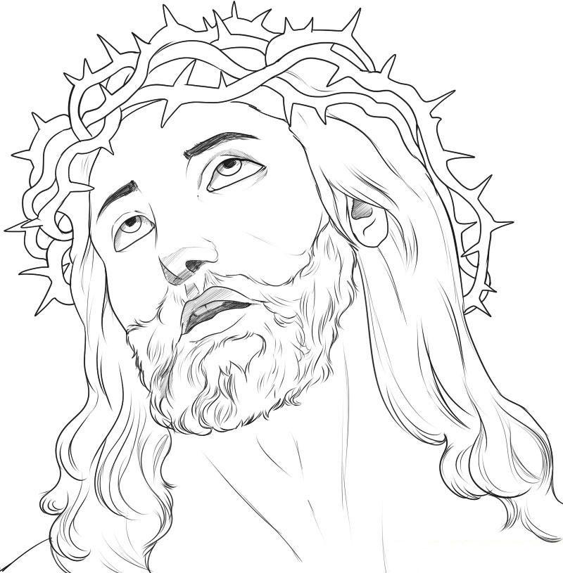 Super Desenho de Face de Jesus crucificado para colorir - Tudodesenhos OM51
