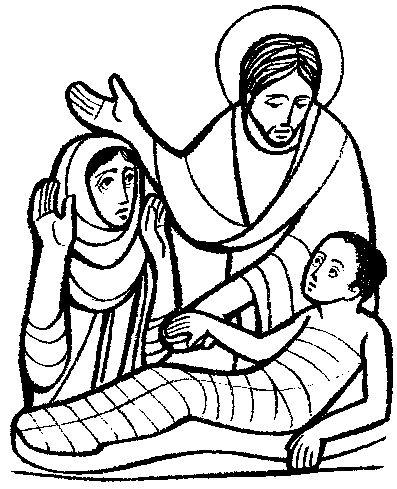 desenho de jesus ressuscita filho de viúva para colorir tudodesenhos