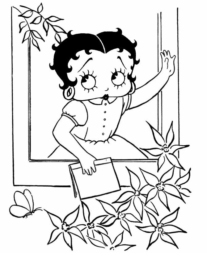 Desenho De Betty Boop Adolescente Na Janela Para Colorir