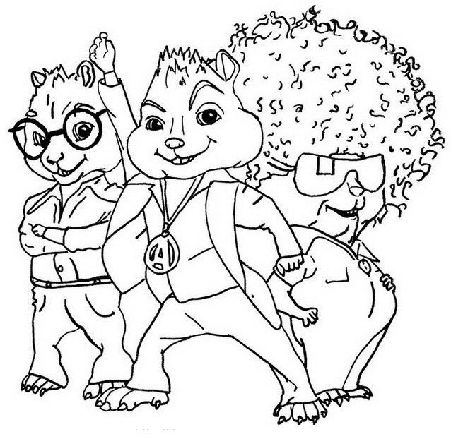 Desenho De Personagens De Alvin E Os Esquilos Para Colorir