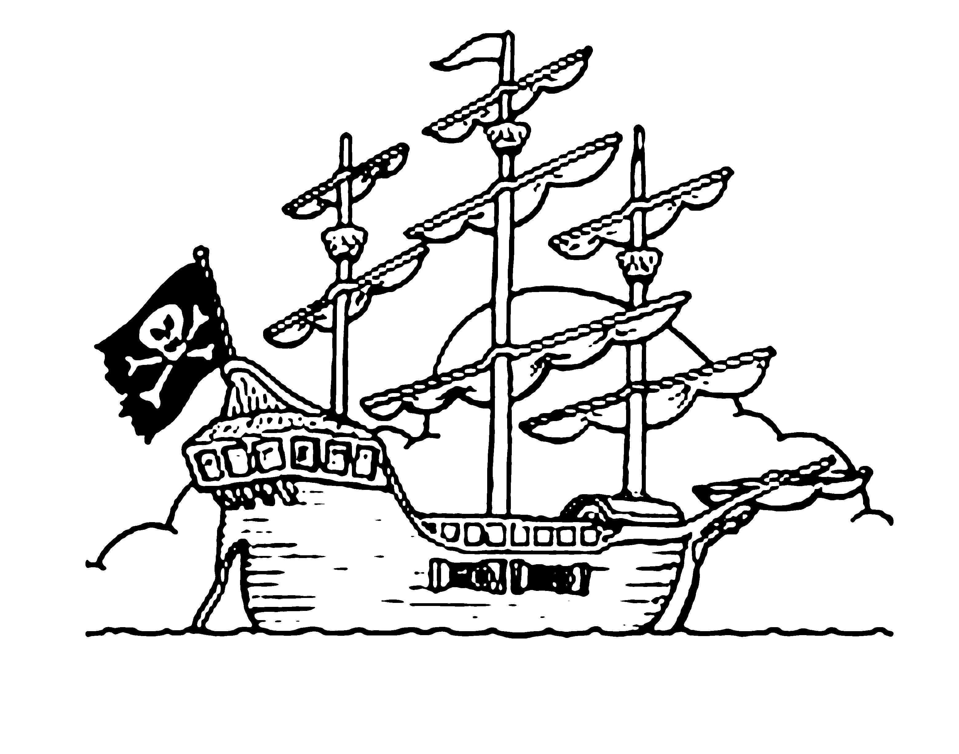 Desenho De Lindo Navio Pirata Para Colorir