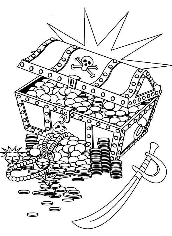 desenho de baú de joias e espada pirata para colorir tudodesenhos