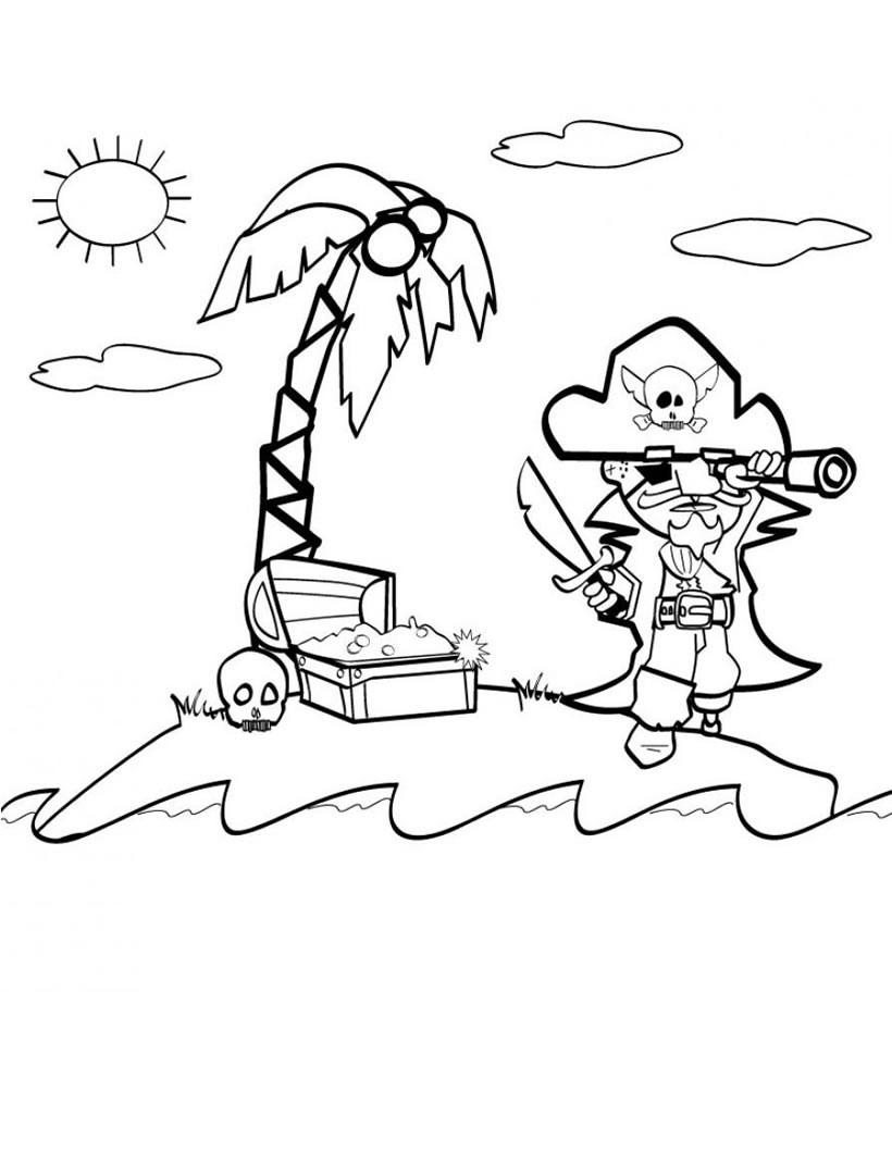 Desenho De Pirata Na Ilha Para Colorir Tudodesenhos