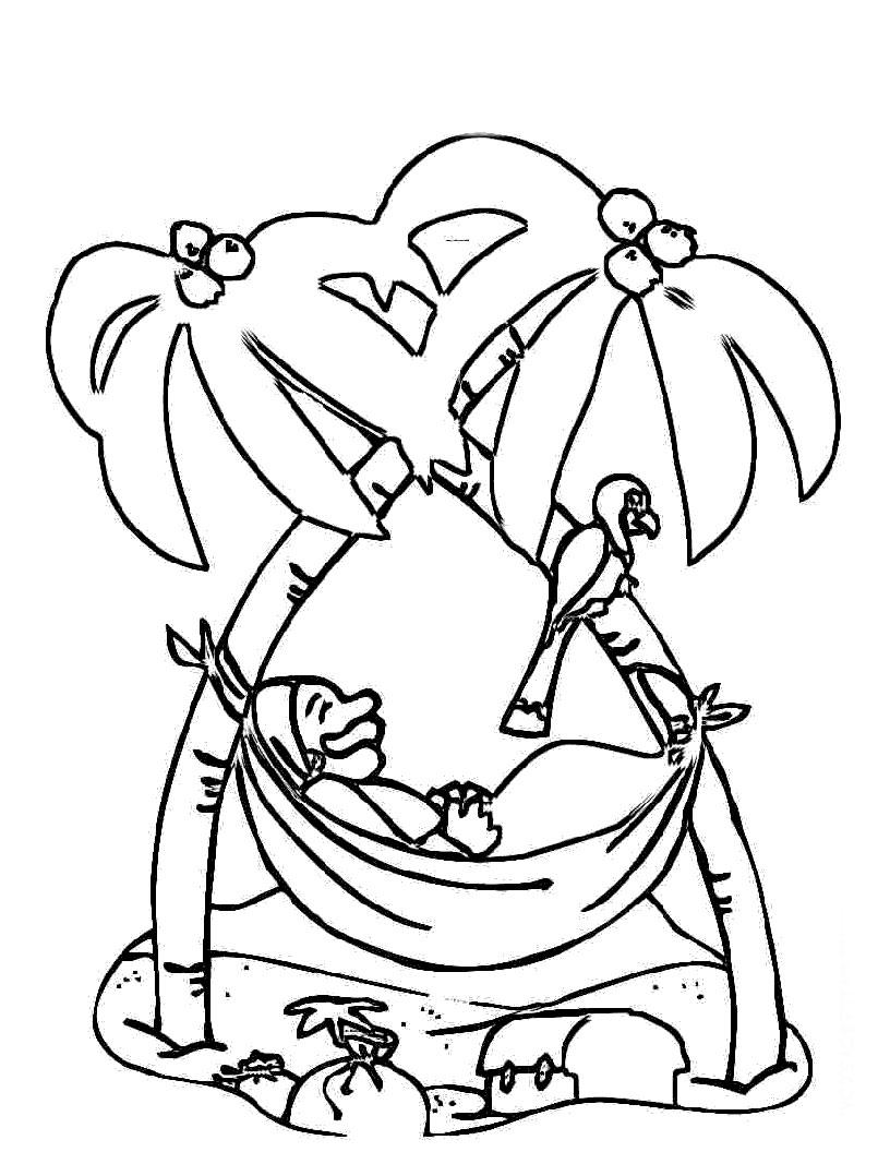 desenho de pirata deitado na rede para colorir tudodesenhos