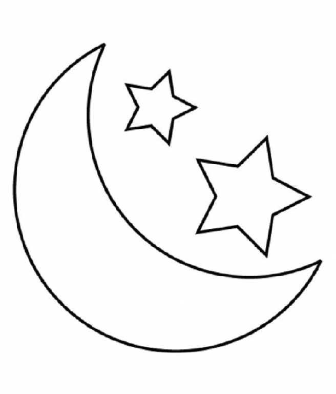 Desenho de lua e duas estrelas para colorir tudodesenhos for Full moon coloring pages
