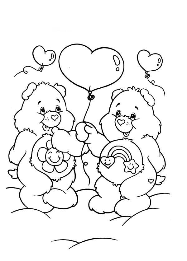 desenho de ursinhos carinhosos e bolas de soprar para colorir