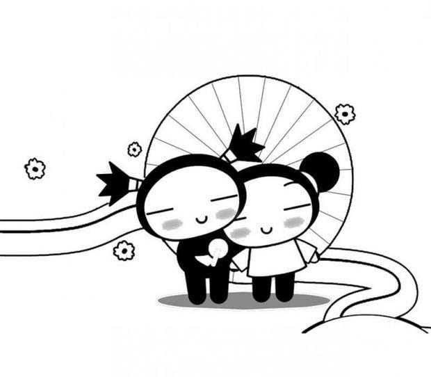 Desenho de pucca e garu com sombrinha japonesa para - Coloriage pucca ...