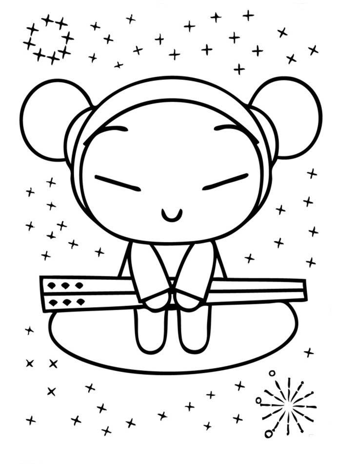 coloring book pages pucca | Desenho de Pucca e palitos japoneses para colorir ...