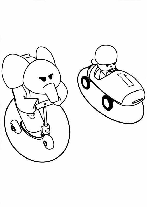 Desenho De Pocoyo E Elefanta Elly Disputando Corrida Para Colorir