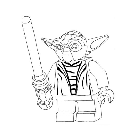 Desenho de Yoda Lego para colorir