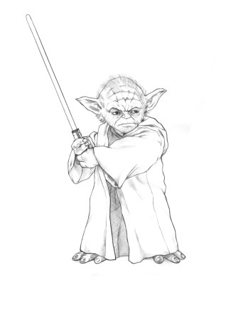 yoda with a lightsabre coloring pages | Printable Pin The Lightsaber On Yoda Pictures to Pin on ...