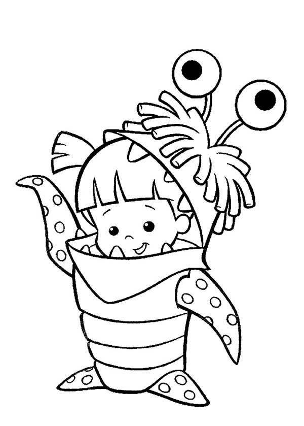 Desenho de Boo vestida de monstro