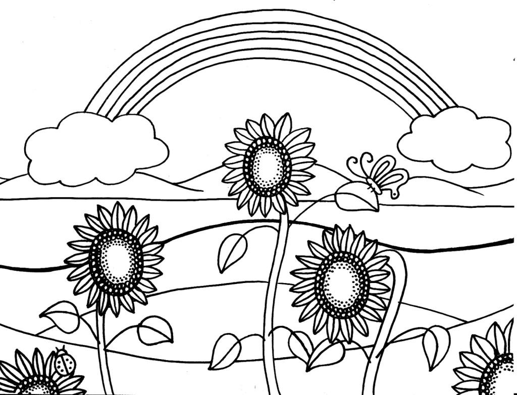 Desenho De Girassol E Arco-íris Para Colorir