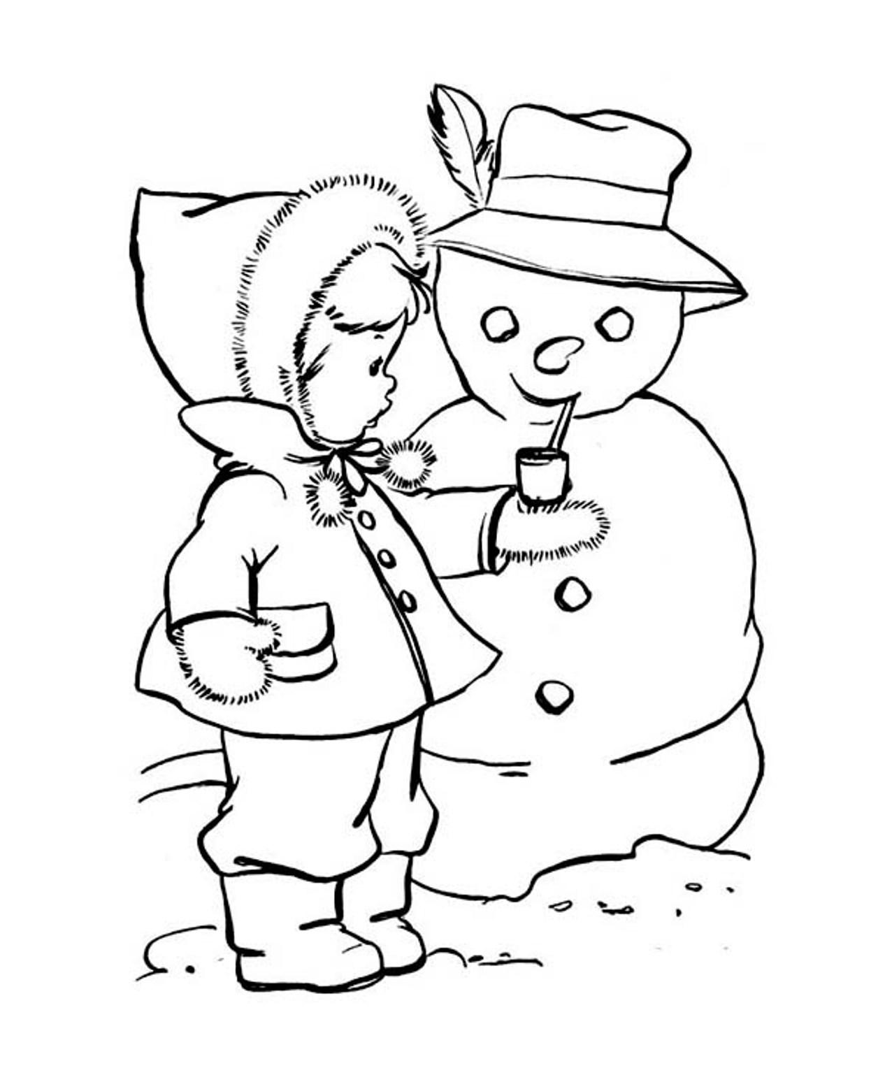 Desenho De Boneco De Neve Fumando Cachimbo Para Colorir