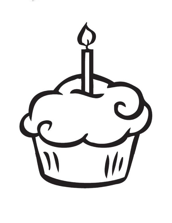 desenho de cupcake com velinha para colorir tudodesenhos
