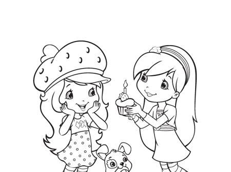 Desenho De Moranguinho E Cupcake Para Colorir Tudodesenhos