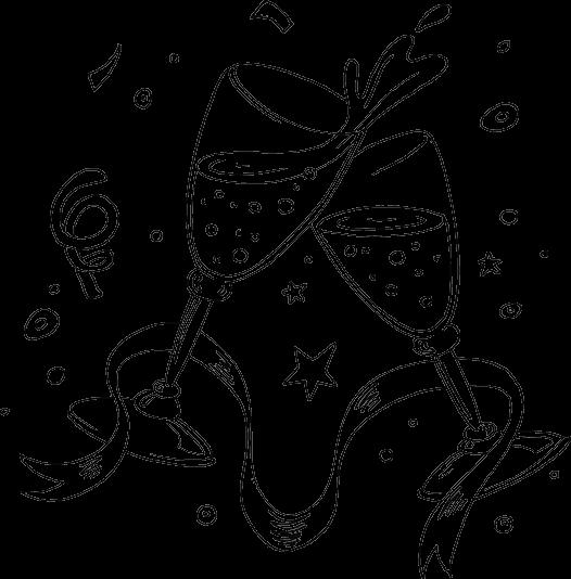 Desenho De Champanhe De Ano Novo Para Colorir Tudodesenhos