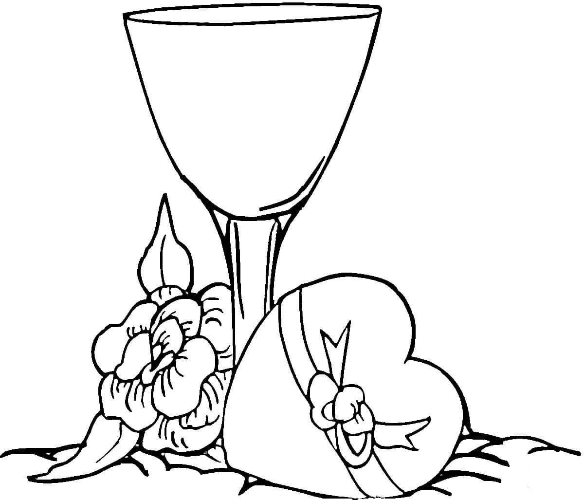 Desenho De Ta 231 A De Vinho E Caixa De Bombons Para Colorir