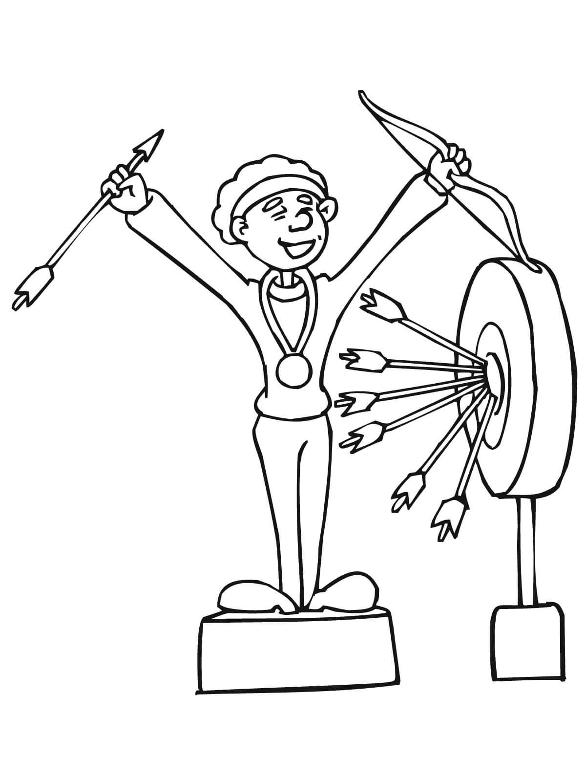 Desenho de Campe o de arco e flecha
