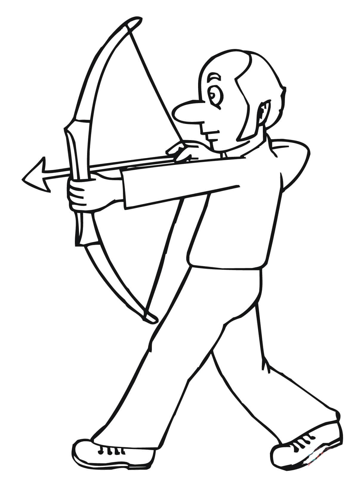 desenho de homem jogando arco e flecha para colorir