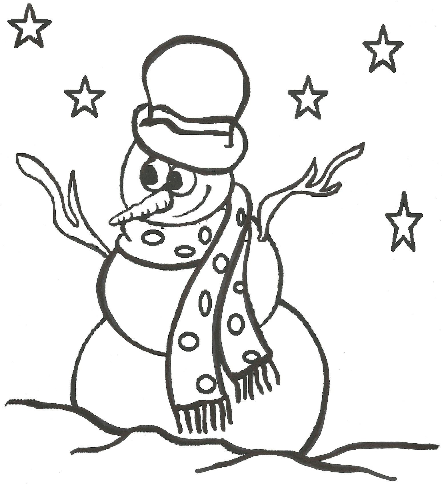 Desenho De Boneco De Neve Com Chapéu Para Colorir