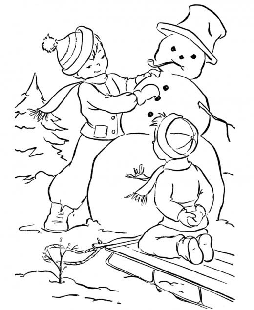 Desenho De Meninos E Boneco De Neve Para Colorir Tudodesenhos