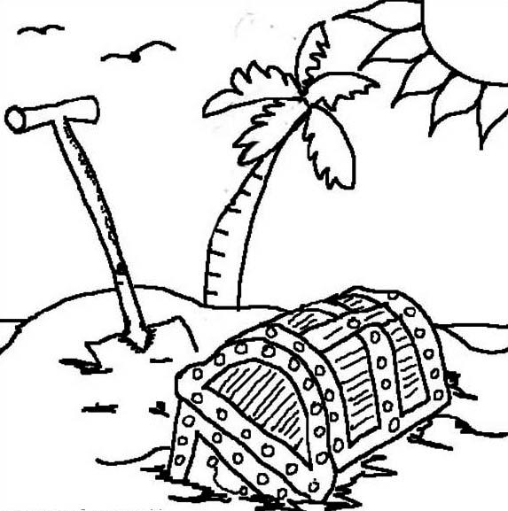 desenho de baú de tesouro na ilha para colorir tudodesenhos