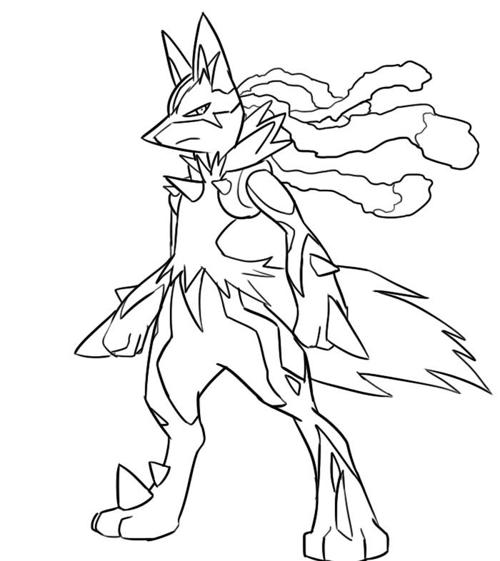 pokemon mega lucario coloring pages images