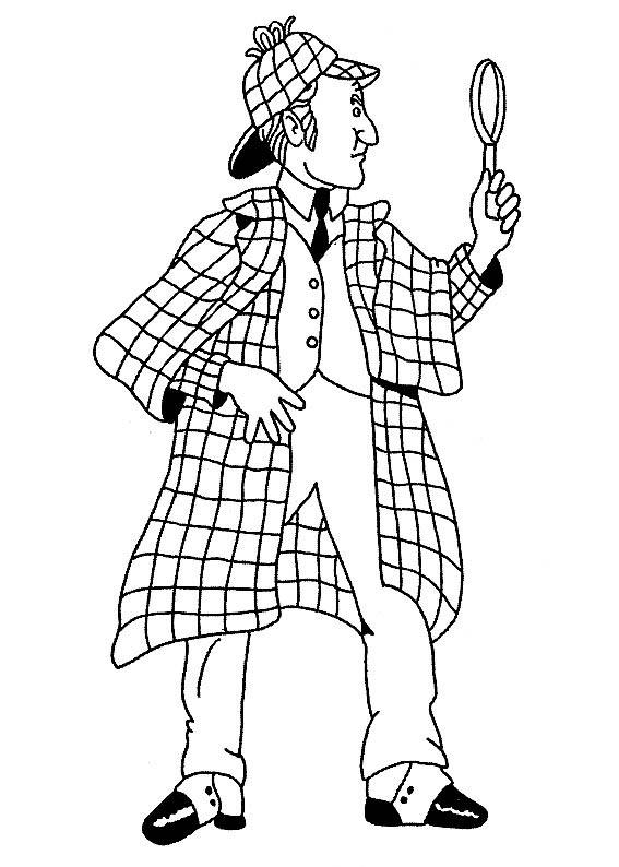 Desenho de sherlock holmes e sua lupa para colorir - Dessin de sherlock holmes ...