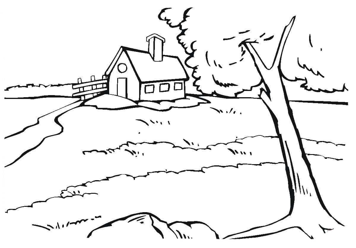 desenho de casa na beira do rio para colorir tudodesenhos
