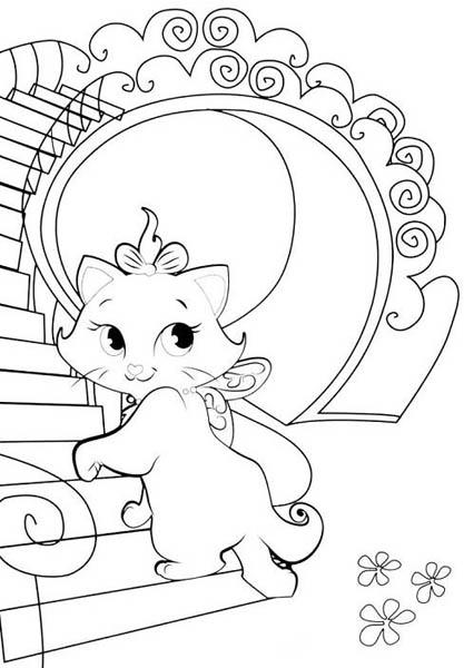 Desenho De Gata Marie Subindo As Escadas Para Colorir Tudodesenhos