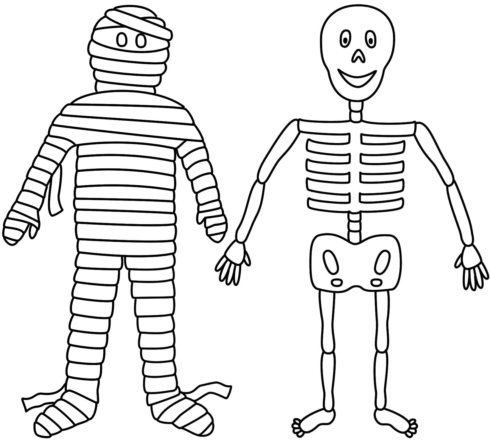 Desenho De Mumia E Esqueleto Para Colorir
