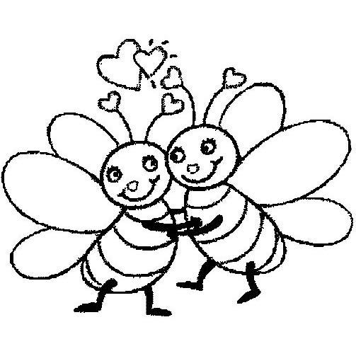 Desenho De Abelhas Namorando Para Colorir