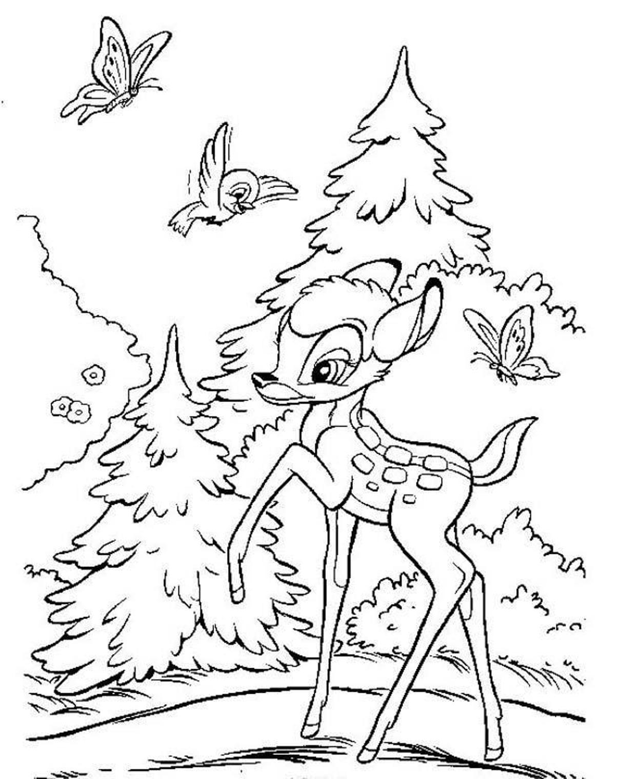 Desenho de bambi na floresta para colorir tudodesenhos for Coloring pages bambi