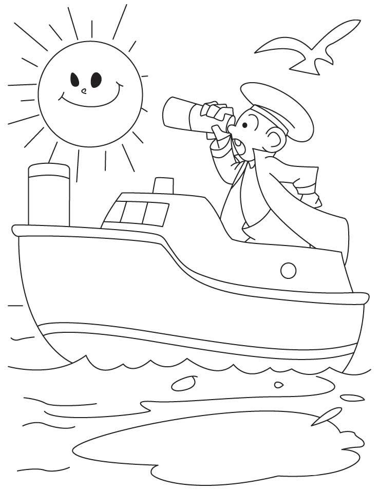 Desenho De Marinheiro No Navio Para Colorir Tudodesenhos
