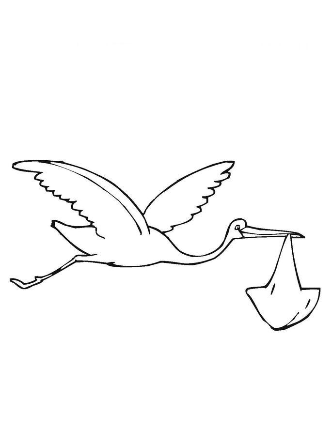 desenho de cegonha voando com bebê para colorir tudodesenhos