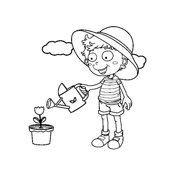 desenho de menina regando flores para colorir