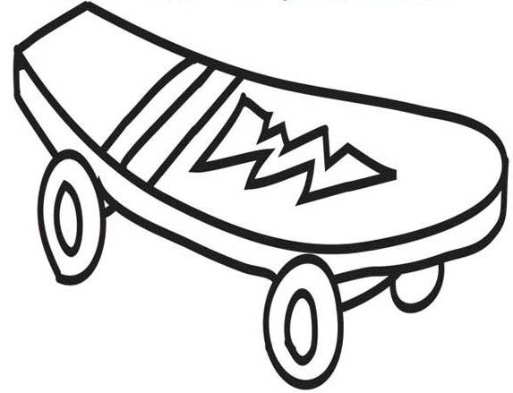 Desenho De Skate Para Imprimir: Desenho De Modelo De Skate Para Colorir