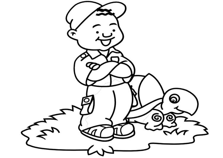 Kist Kleurplaat Desenho De Menino E Tartaruga Para Colorir Tudodesenhos