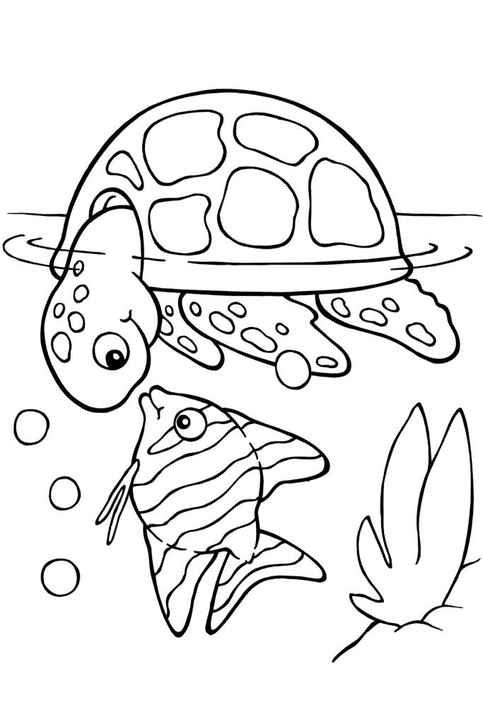 Desenho De Tartaruga Conversando Com Peixinho Para Colorir