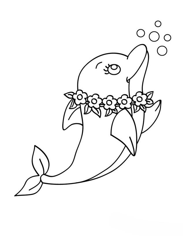 Desenho de Golfinho com coroa de flores para colorir ...