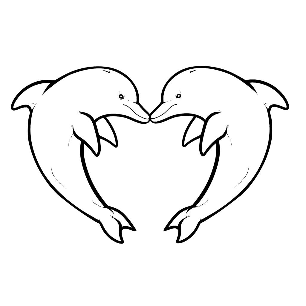 Desenho de Golfinhos namorando para colorir - Tudodesenhos