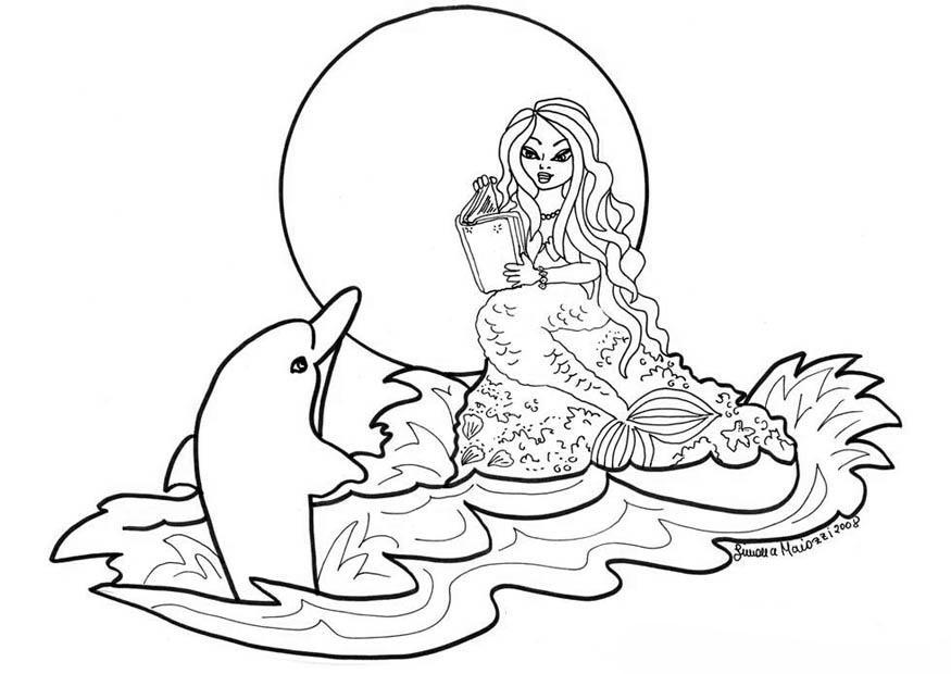 Desenho De Sereia Lendo Para Golfinho Para Colorir