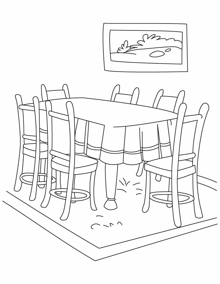 Desenho de mesa e cadeiras na sala de jantar para colorir for Sala de estar dibujo