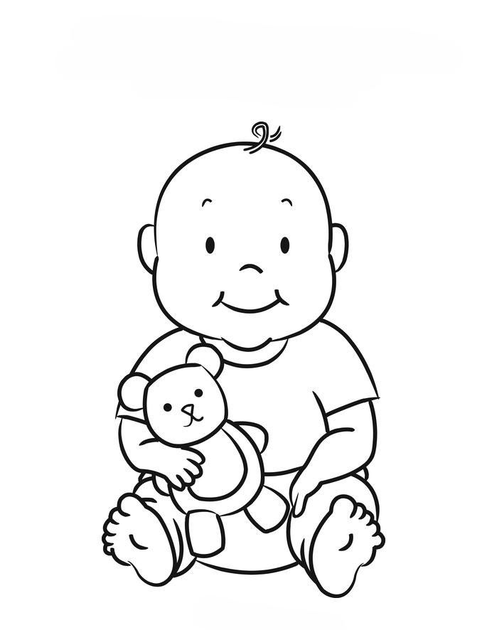 Desenho De Bebê E Ursinho De Pelúcia Para Colorir Tudodesenhos